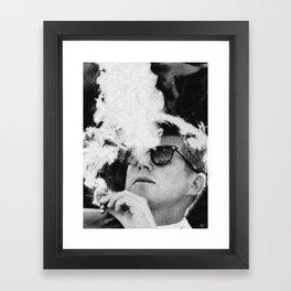 Cigar Smoker Cigar Lover JFK Gifts Black And White Photo Framed Art Print