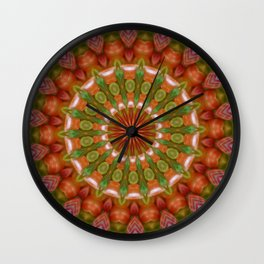 Fruit and Vegetable Colored Kaleidoscope Wall Clock