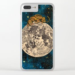 Tiger biting the moon Clear iPhone Case