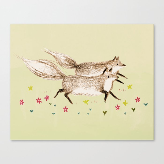 Running Foxes Canvas Print