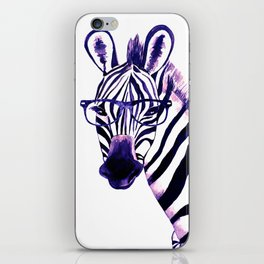 Zebra with glasses, purple iPhone Skin