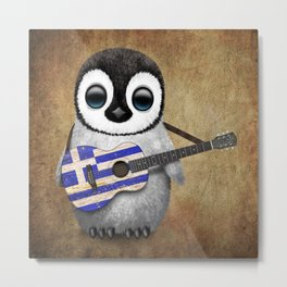 Baby Penguin Playing Greek Flag Guitar Metal Print