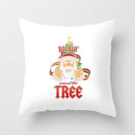 Rockin' Around The Tree Christmas Season Santa Xmas Winter Reindeer Sleigh Gift Throw Pillow