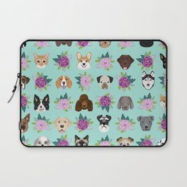 Dogs and cats pet friendly floral animal lover gifts dog breeds cat ladies Laptop Sleeve