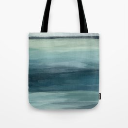 Seafoam Green Mint Navy Blue Abstract Ocean Art Painting Tote Bag