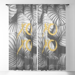 Xoxo nature gold and black white Sheer Curtain