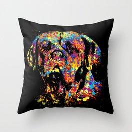 Colorful Dogue de Bordeaux Throw Pillow