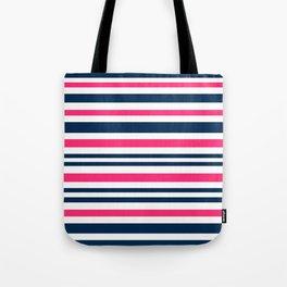 Horizontal , striped , pink , blue , white Tote Bag