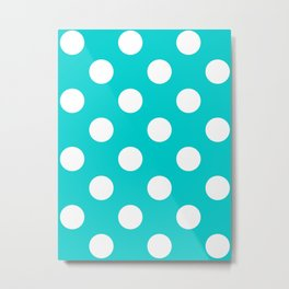 Large Polka Dots - White on Cyan Metal Print