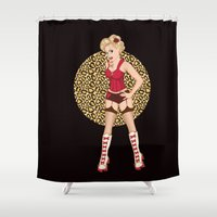 roller derby Shower Curtains featuring Blonde Bombshell Roller Derby Pinup by LucyDynamite