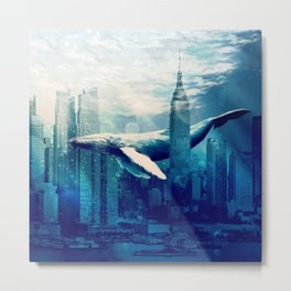 Blue Whale in NYC Metal Print