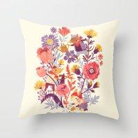 animal crew Throw Pillows featuring The Garden Crew by Teagan White