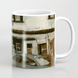 Cityscape Oil painting Urban Landscape of English Pub Buildings & Street Cars Coffee Mug