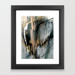 01025: a neutral abstract in gold, black, and white Framed Art Print