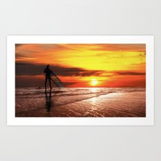 Surfers Sunset Art Print