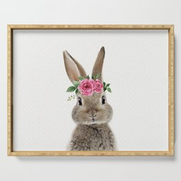 Bunny with Flower Crown Serving Tray