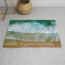Ocean Waves Crushing On Beach, Drone Photography, Aerial Photo, Ocean And Beach Wall Art Print Decor Rug