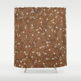 Chocolate Mocha Paw Prints Shower Curtain