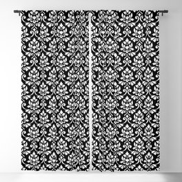 Feuille Damask Pattern White on Black Blackout Curtain