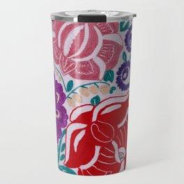 Authentic Vintage Handmade Slovakian Folkore Tambour Embroidery Floral Pattern Travel Mug