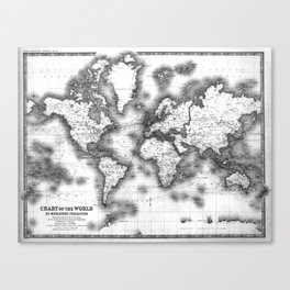 Black and White World Map (1911) Canvas Print