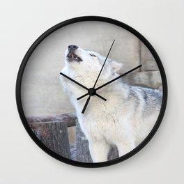 Howling Wolf 3 Wall Clock