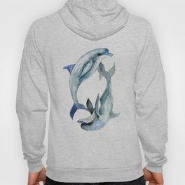 Dolphin, Two Dolphins, chidlren room decor illustration dolphin art Hoody