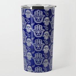 Hamsa Hand pattern - pearl and silver on lapis lazuli Travel Mug