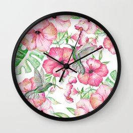 Hibiscus + Hummingbirds Pink Wall Clock