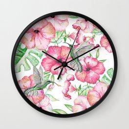 Hibiscus + Hummingbirds Pink Wall Clock