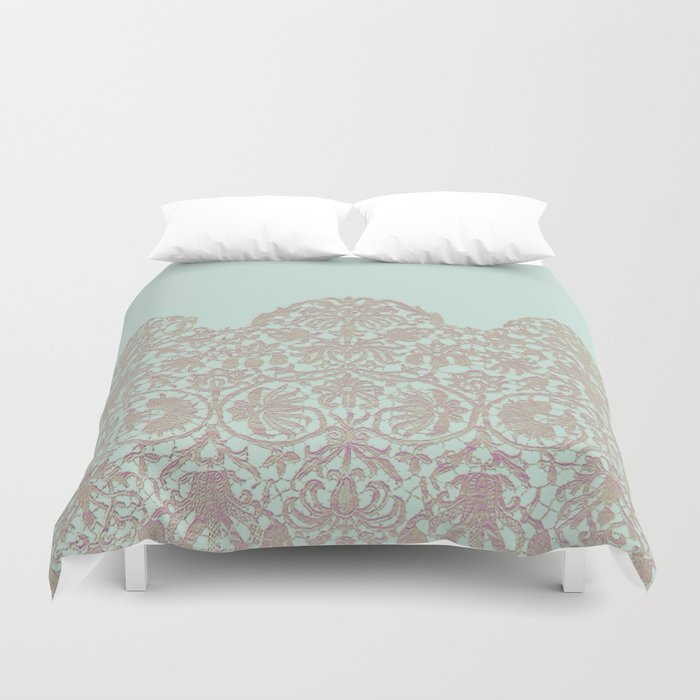 floral lace and soft blue Duvet Cover