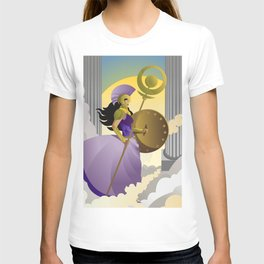 greek roman goddess athena minerva with shield and staff in the sky T-shirt