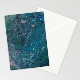 Unseen - dark teal acrylic pour abstract art Stationery Cards