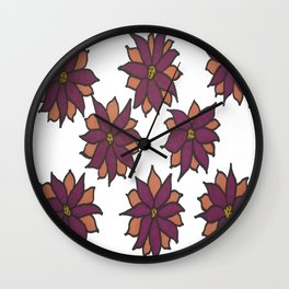 Holiday Two-Toned Flowers Wall Clock
