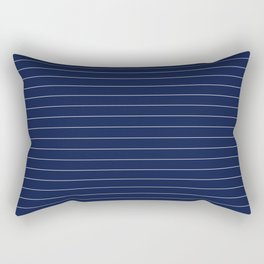 Navy Blue Pinstripe Lines Rectangular Pillow