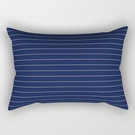 Navy Blue Pinstripes Lines Minimal Rectangular Pillow