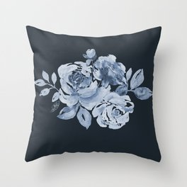 Country Rose on Indigo Throw Pillow
