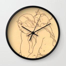 "Egon Schiele ""Woman and Girl Embracing"" Wall Clock"