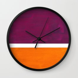 Purple Wine Yellow OchreMid Century Modern Abstract Minimalist Rothko Color Field Squares Wall Clock