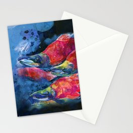 Sockeye Salmon Watercolor Painting Stationery Cards