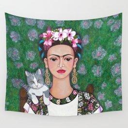 Frida cat lover closer Wall Tapestry