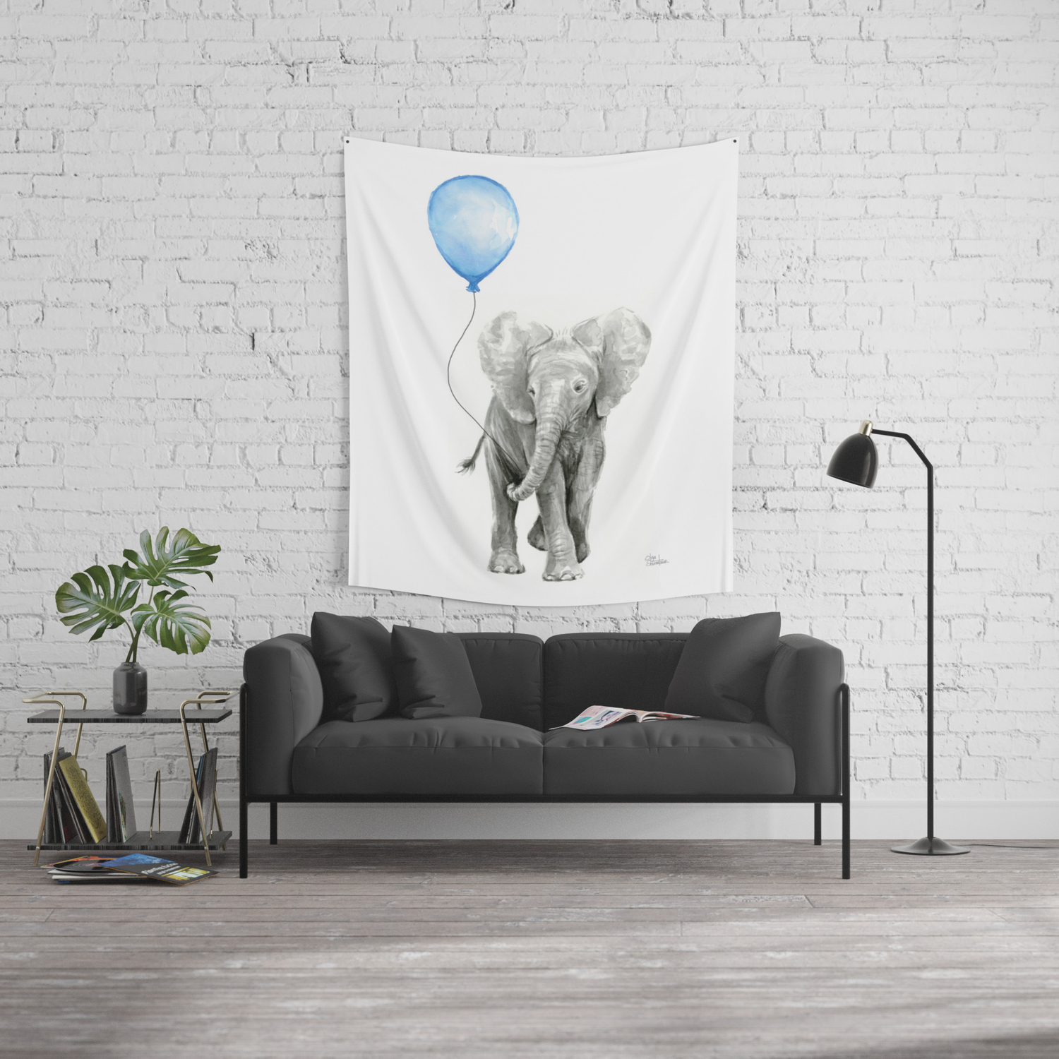 Baby Animal Elephant Watercolor Blue Balloon Baby Boy Nursery Room Decor  Wall Tapestry