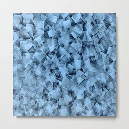 Geometric Stacks Mini Demin Blue Metal Print