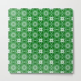 Green and Whte Star Geometric Metal Print
