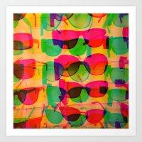 sunglasses Art Prints featuring Sunglasses by Kaos and Kookies