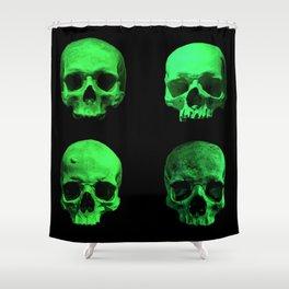 Skull quartet green Shower Curtain