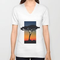 africa V-neck T-shirts featuring Africa by Trevor Seymour