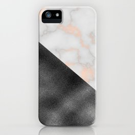 Rose gold marble and gunmetal grey storm iPhone Case