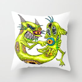 Cat Monster Dog Throw Pillow