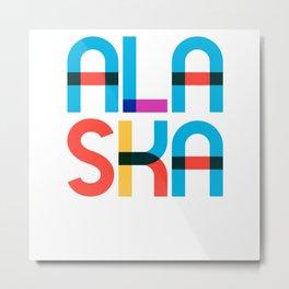 Alaska State Mid Century, Pop Art Mondrian Metal Print